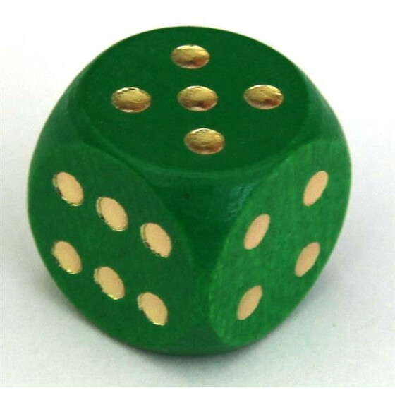 Wood Dice 16mm Green