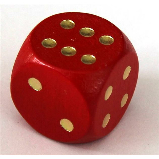 Wood Dice 16mm Red