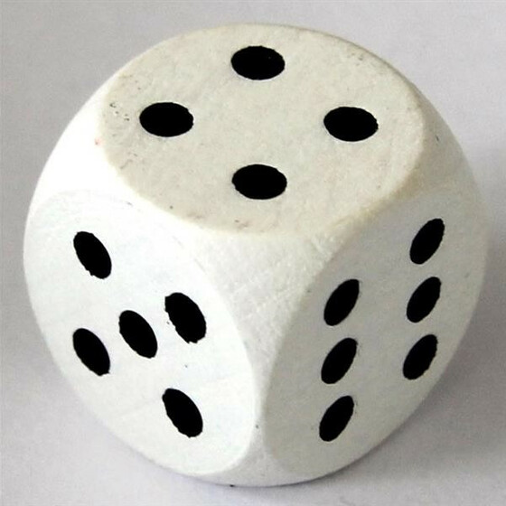 Wood Dice 16mm White