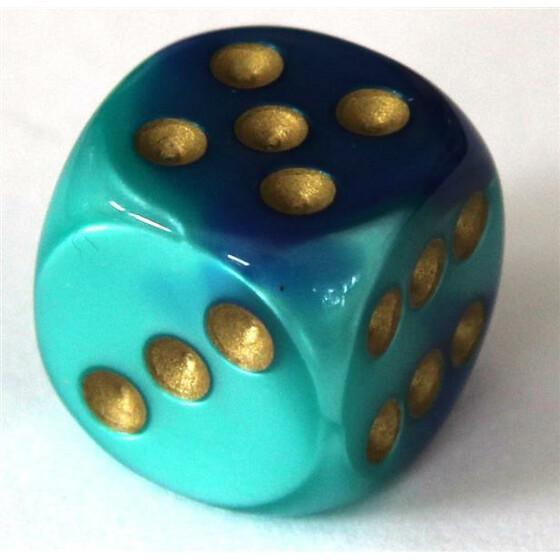 Chessex Gemini Blue-Teal/Gold W6 16mm