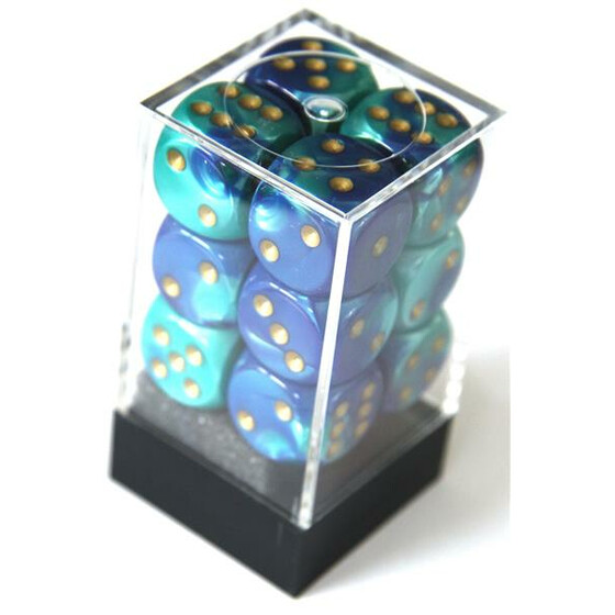 Chessex Gemini Blue-Teal/Gold W6 16mm Set