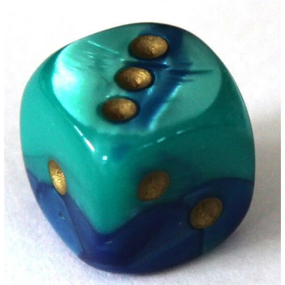 Chessex Gemini Blue-Teal/Gold W6 12mm