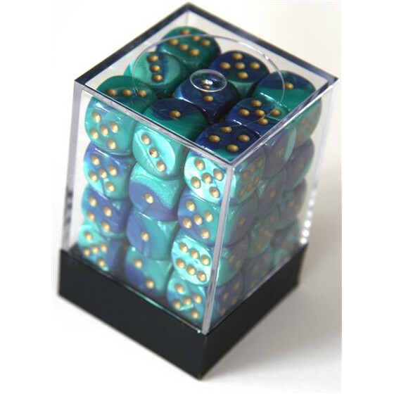 Chessex Gemini Blue-Teal/Gold W6 12mm Set