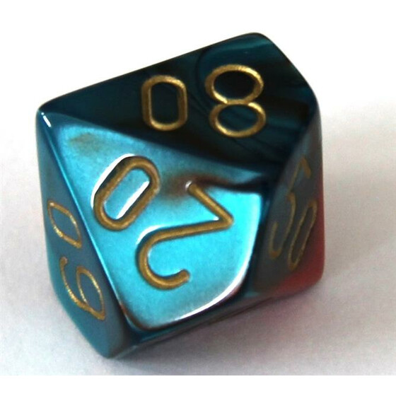 Chessex Gemini Red-Teal/Gold W10%