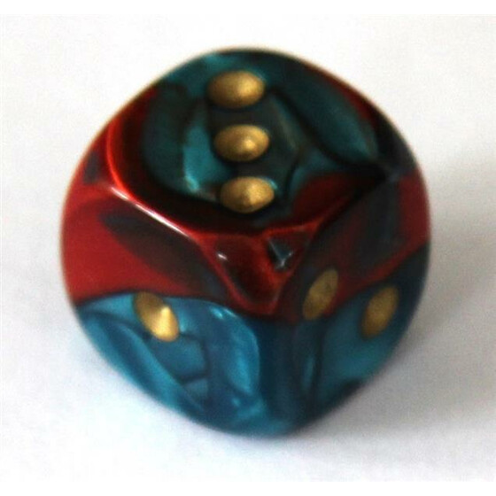 Chessex Gemini Red-Teal/Gold W6 16mm