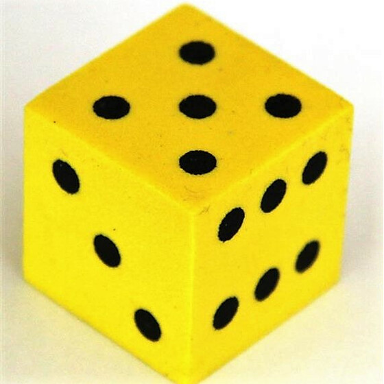 Foam Dice D6 16mm Yellow