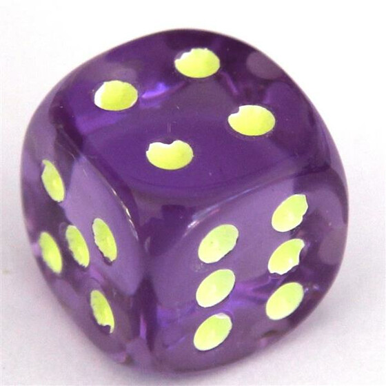 Fluorescent Dice Purple D6