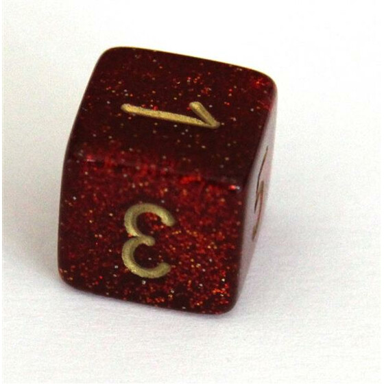 Chessex Glitter ruby/gold W6