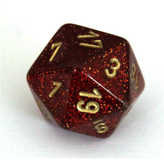 Chessex Glitter Ruby/gold W20