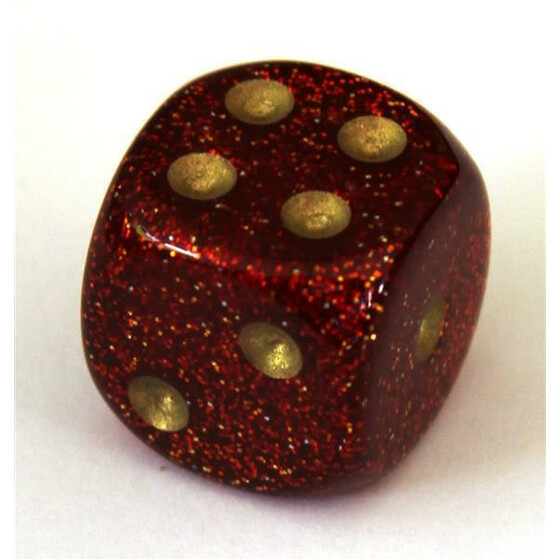 Chessex Glitter Ruby/gold W6 12mm