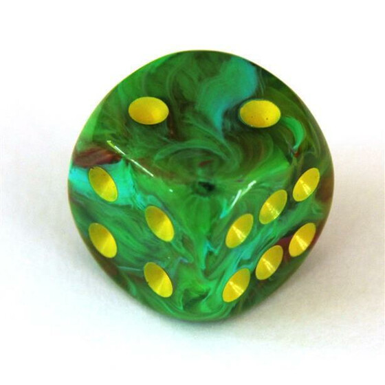 Chessex Vortex Slime/yellow W6 12mm