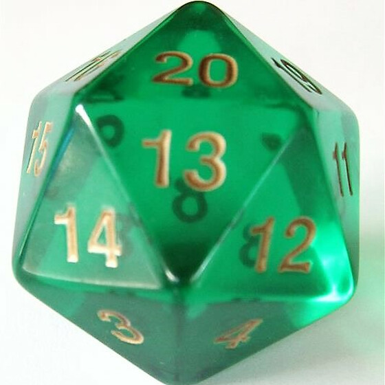 55mm translucent green D20 Count down