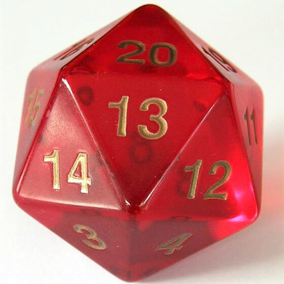 55mm translucent red D20 Count down