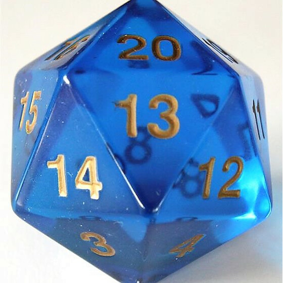 55mm translucent blue D20 Count down