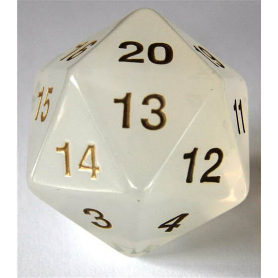 55mm translucent white D20 Count down