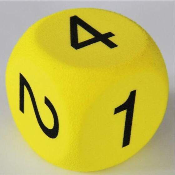 Foam Dice D6 50mm with numbers