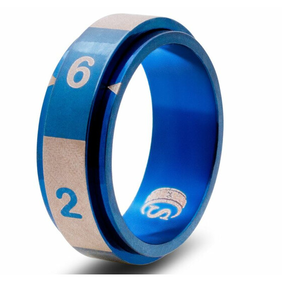 Dice ring D6 blue