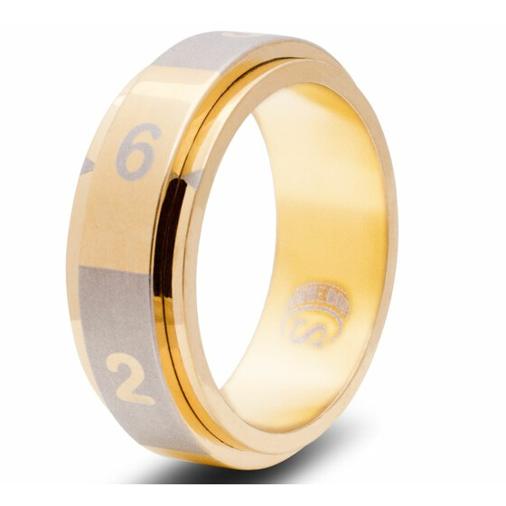 Dice ring D6 gold