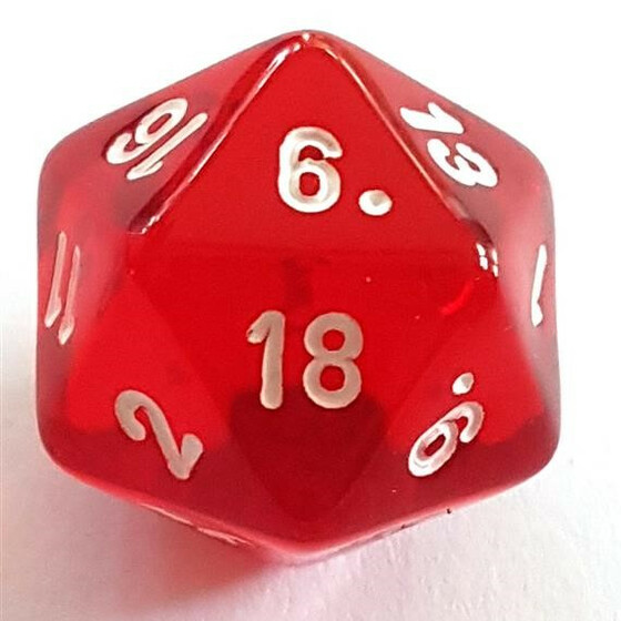 Translucent red D20