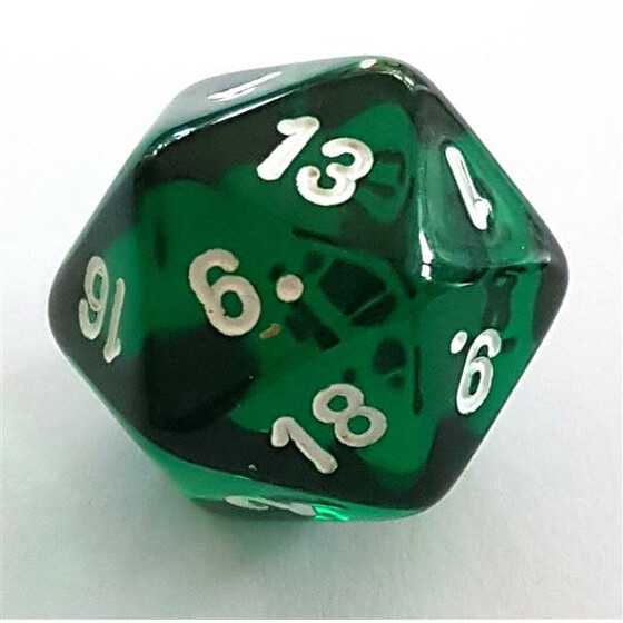 Translucent green D20
