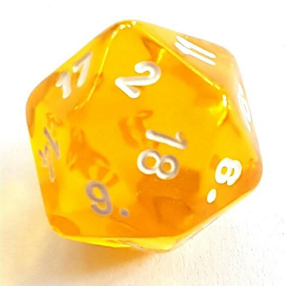 Translucent yellow D20