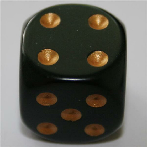 Chessex Opaque Black/Gold W6 16mm