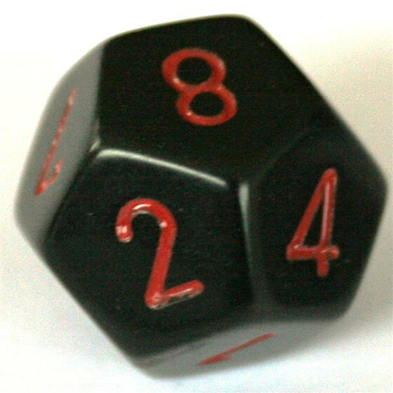 Chessex Opaque Black/Red D12