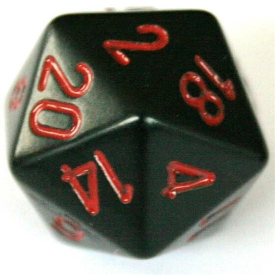 Chessex Opaque Black/Red D20
