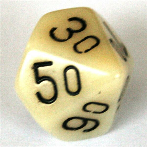 Chessex Opaque Ivory D10%