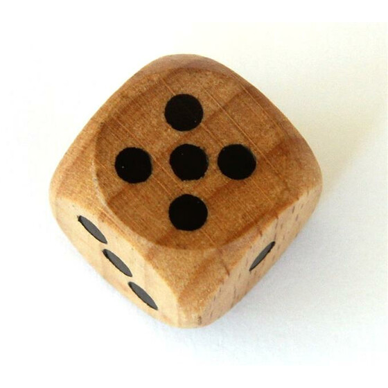 Wood Dice D6 16mm Wood/Black (dark)