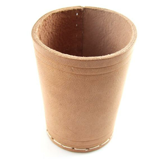 Dice cup leather brown