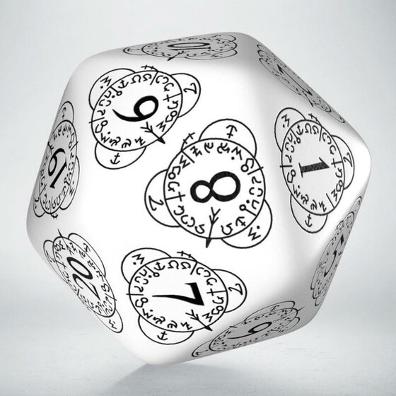D20 Level counter dice white