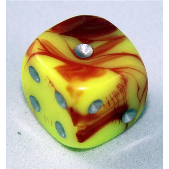 D6 12mm Toxic yellow/red