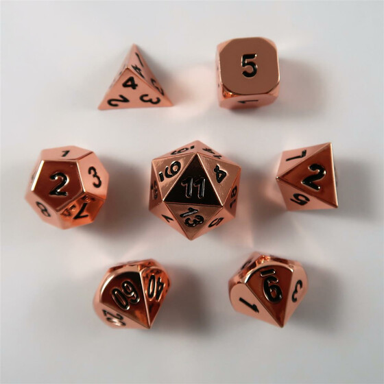 Metal Dice Set Shiny Copper