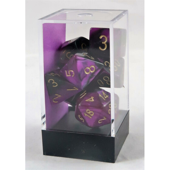 Chessex Gemini black-purple/gold set boxed