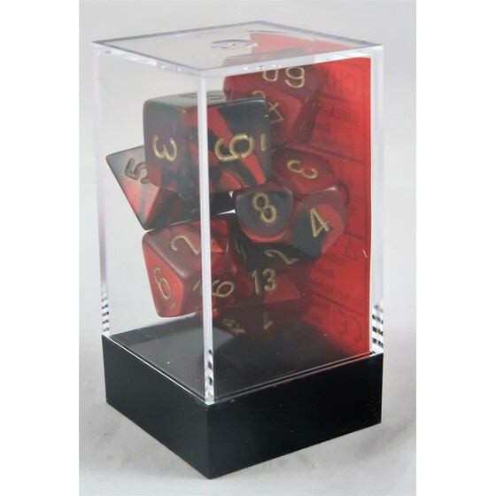 Chessex Gemini black-red/gold set boxed