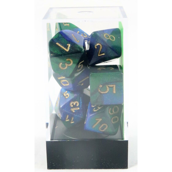 Chessex Gemini Blue-Green/Gold Set boxed