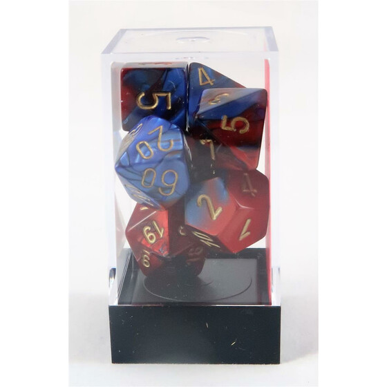 Chessex Gemini blue-red/gold set boxed