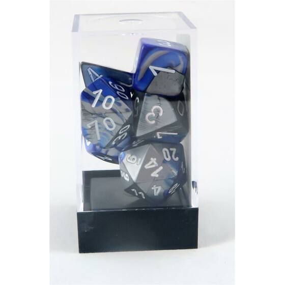 Chessex Gemini blue-steel/white set boxed