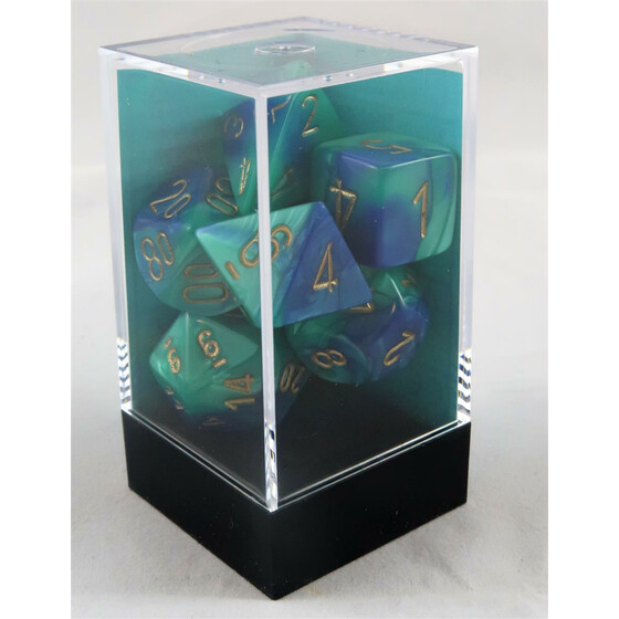Chessex Gemini blue-teal/gold set boxed