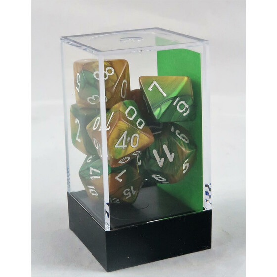 Chessex Gemini gold-green/white set boxed