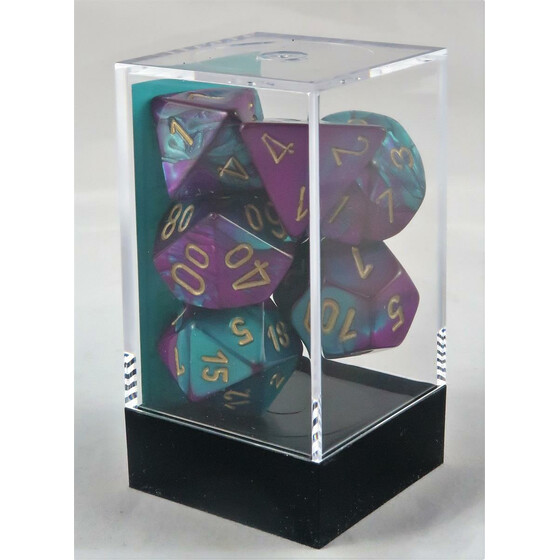 Chessex Gemini purple-teal/gold set boxed