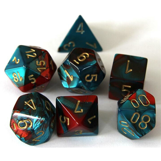 Chessex Gemini red-teal/gold set boxed