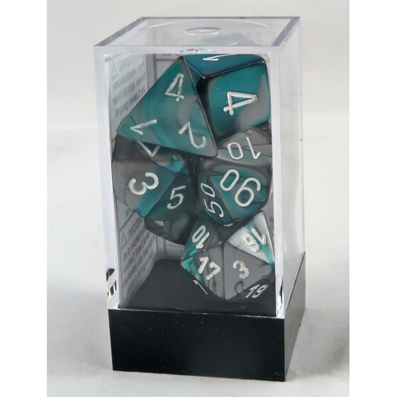 Chessex Gemini steel-teal/white set boxed