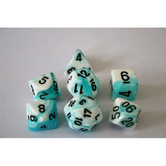 Chessex Gemini Teal-White Set boxed