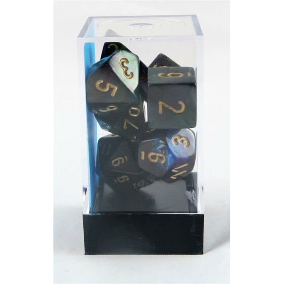 Chessex Lustrous shadow/gold set boxed