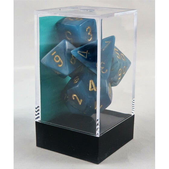 Chessex Phantom teal/gold set boxed