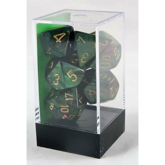 Chessex Scarab Jade/Gold Set boxed