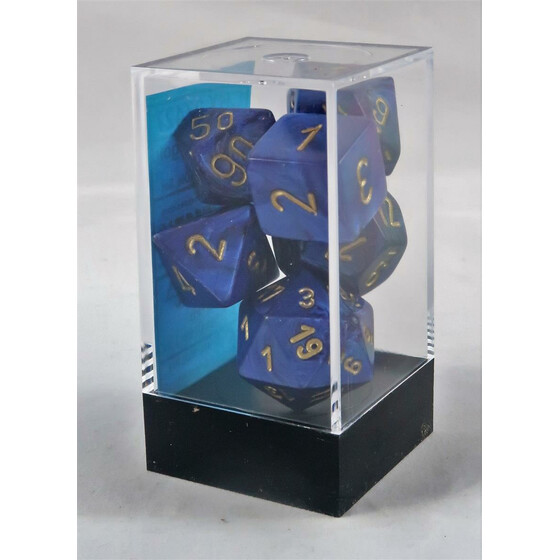 Chessex Scarab Royal Blue/Gold Set boxed