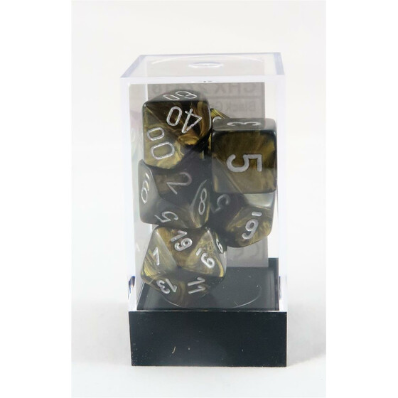 Chessex Leaf black/gold set boxed